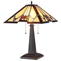 CHLOE Lighting GERAINT Tiffany-style 2 Light Mission Table Lamp