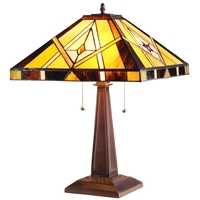 CHLOE Lighting KIETH Tiffany-style 2 Light Mission Table Lamp
