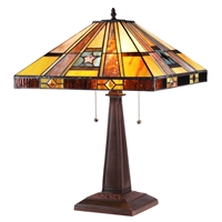 CHLOE Lighting ELY Tiffany-style 2 Light Mission Table Lamp