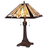 CHLOE Lighting DENTON Tiffany-style 2 Light Mission Table Lamp