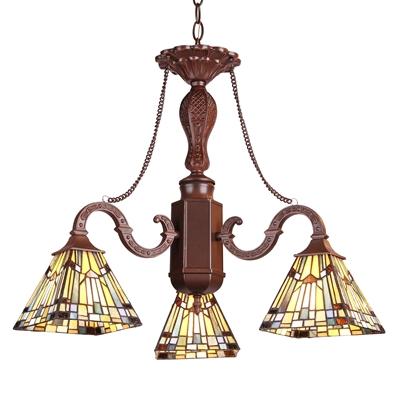 "CHLOE Lighting KINSEY Tiffany-style Mission 3 Light Mini Chandelier 23"" Wide"