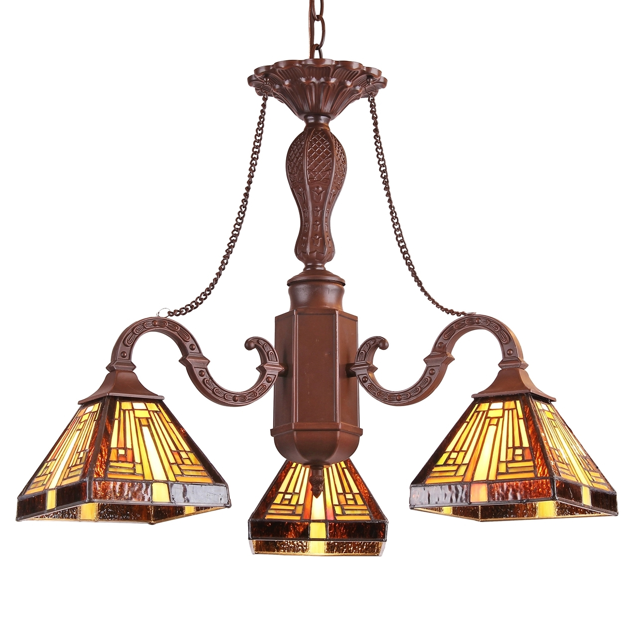 Chloe Lighting Innes Tiffany Style Mission 3 Light Mini Chandelier 23 Wide
