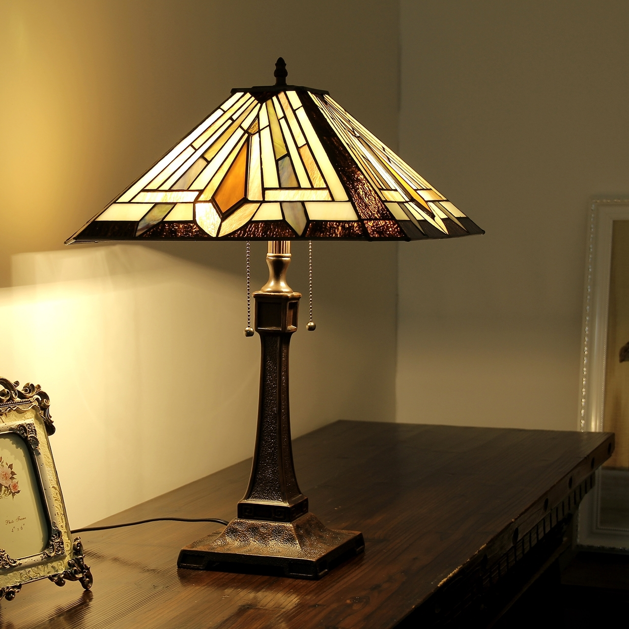 ... CHLOE Lighting DENTON Tiffany Style 2 Light Mission Table Lamp