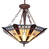 CHLOE Lighting SIRIUS Tiffany-style Goemetirc 3 Light Inverted Ceiling Pendant